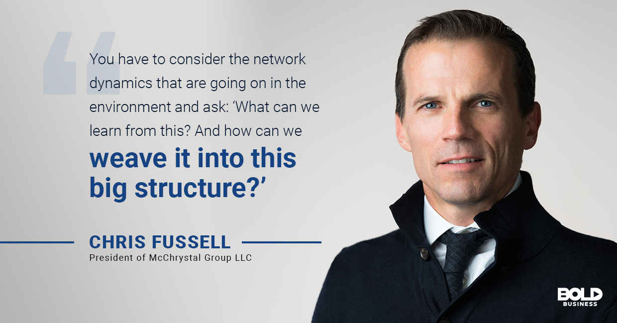 a photo quote of Chris Fussel in relation to the bold impact of the Team of Teams model from The McChrystal Group