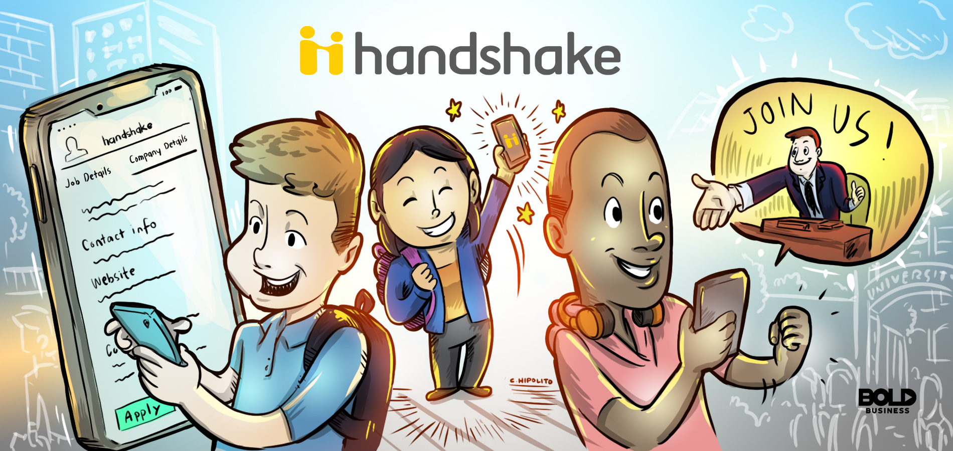 students getting hired by companies for internships through the handshake social media app