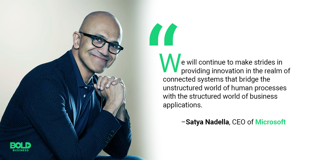 a photo quote of Satya Nadella relevant to the discussion on Microsoft's LinkedIn Strategy
