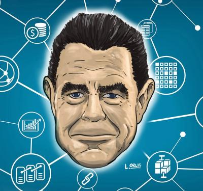 Philip Goodeve's head surrounded by a blockchain web amid the reality of FinTech startups and cryptocurrency trends