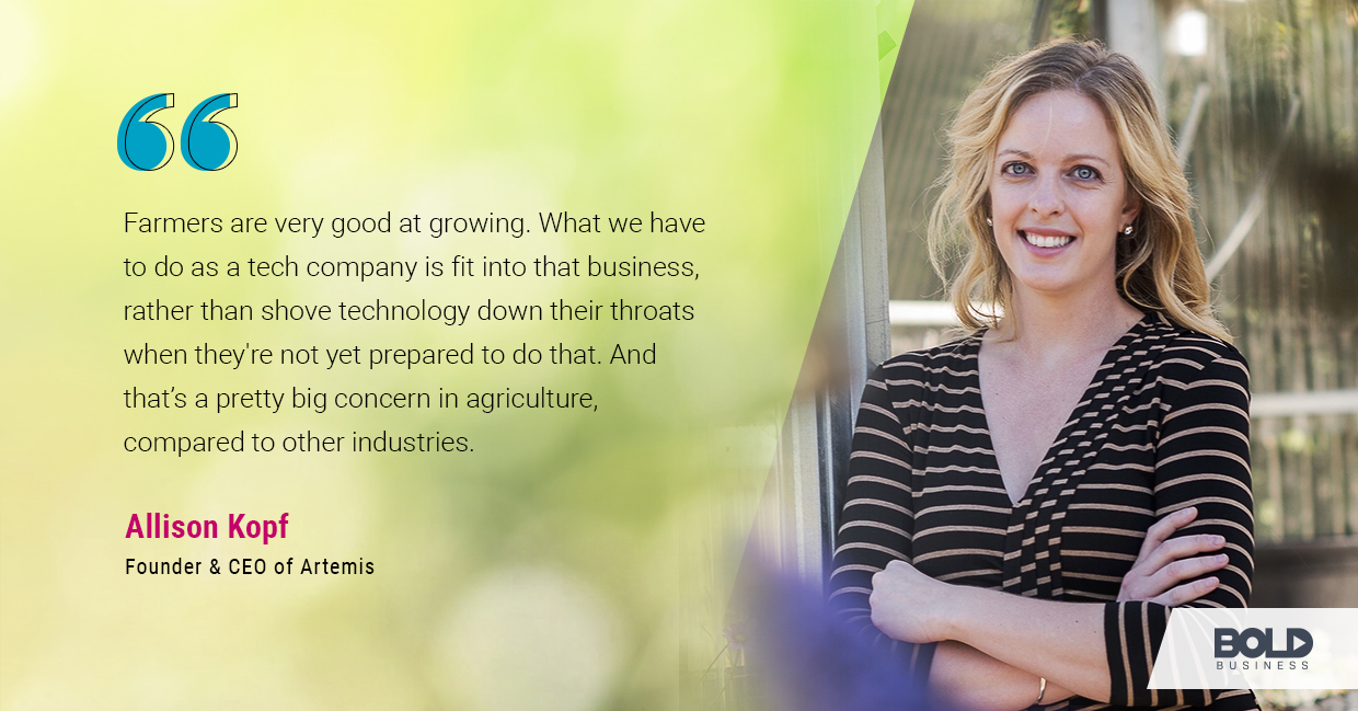 a photo quote of Allison Kopf in relation to the rise of AgTech companies and the solutions they offer to indoor farming issues