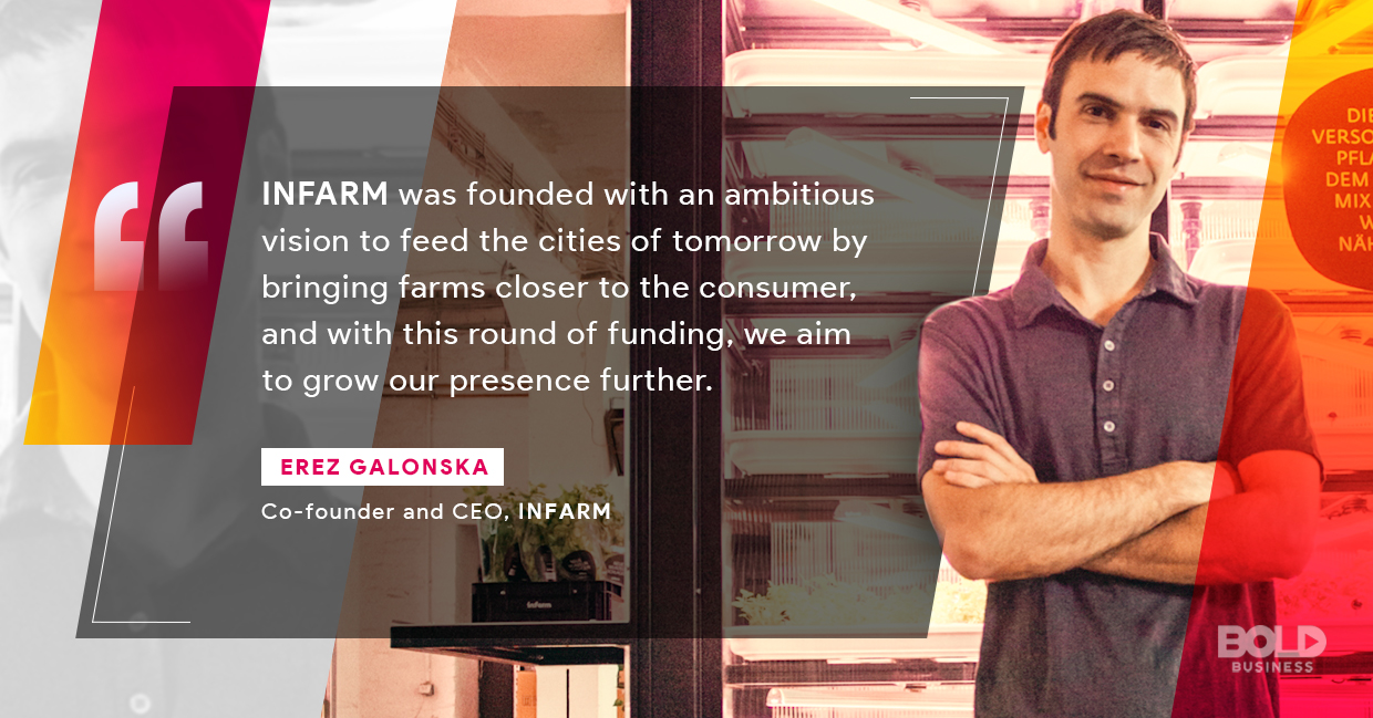 a photo quote of Erez Galonska on the successful platform of INFARM