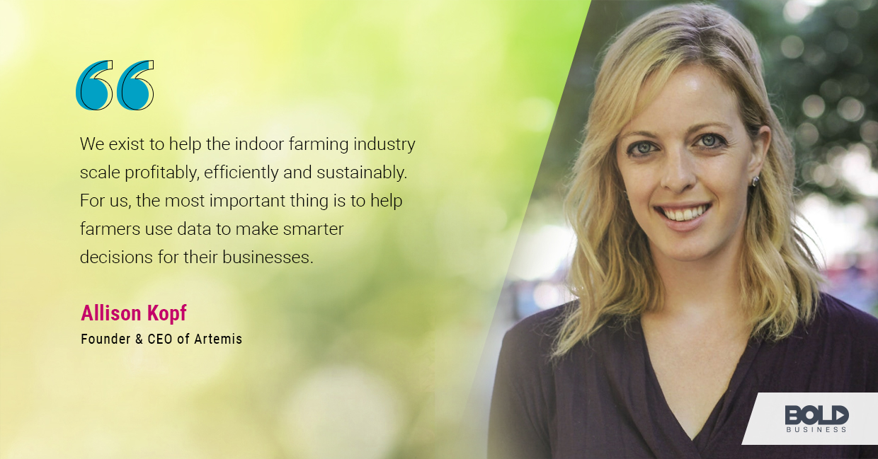 another photo quote of Allison Kopf in relation to the rise of AgTech companies and the solutions they offer to indoor farming issues