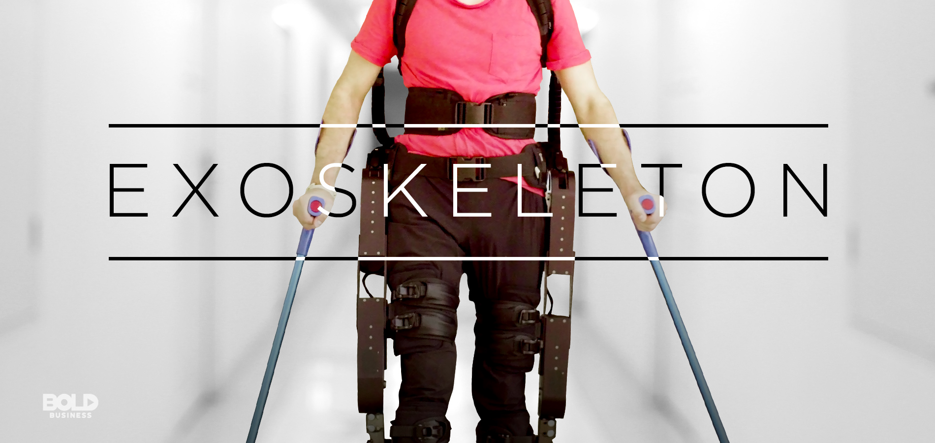 a photo of a man's torso and legs, wearing a robotic exoskeleton amid the rise of advancements in robotics in rehabilitation