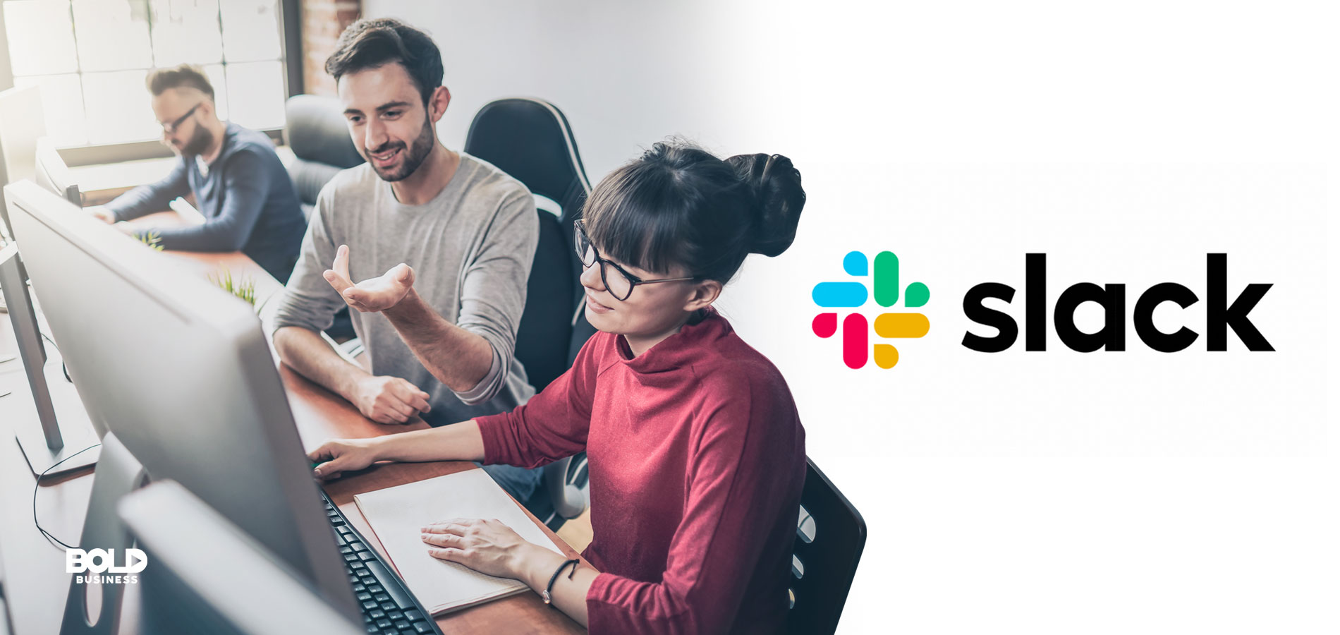 an image with the company logo of Slack Technologies beside a photo of two men and one woman working on their laptops in front of them