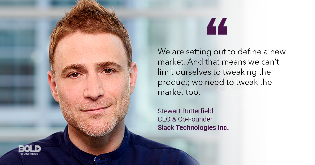 a photo quote of Stewart Butterfield about Slack Technologies