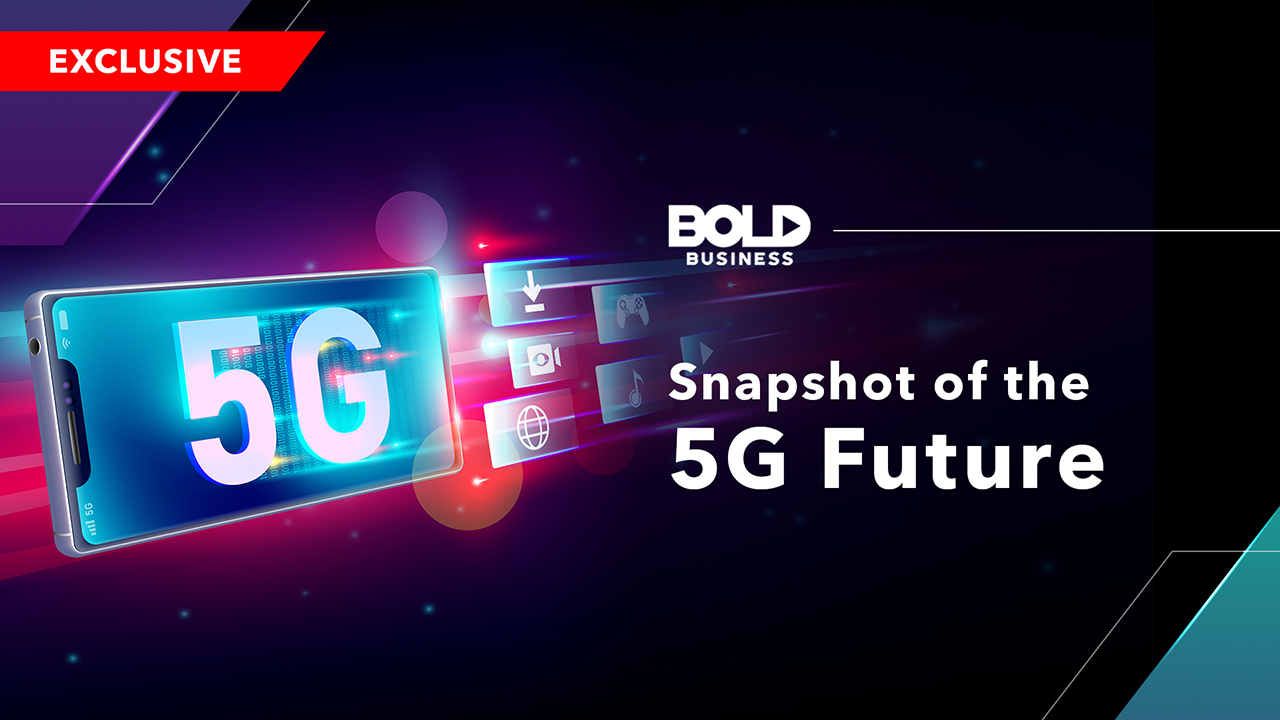 5G technology on the phone screen