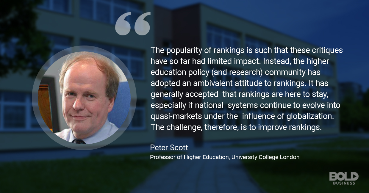 U.S. news and world report university rankings, peter scott quoted
