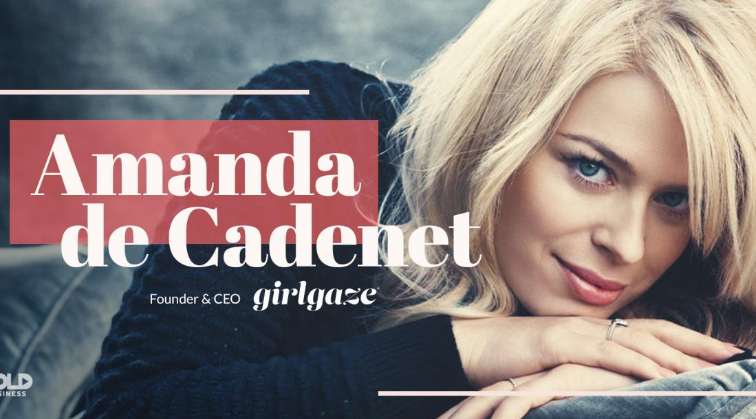 "a photo of Amanda de Cadenet with her name and the company's name,""girlgaze"", beside her in the frame"