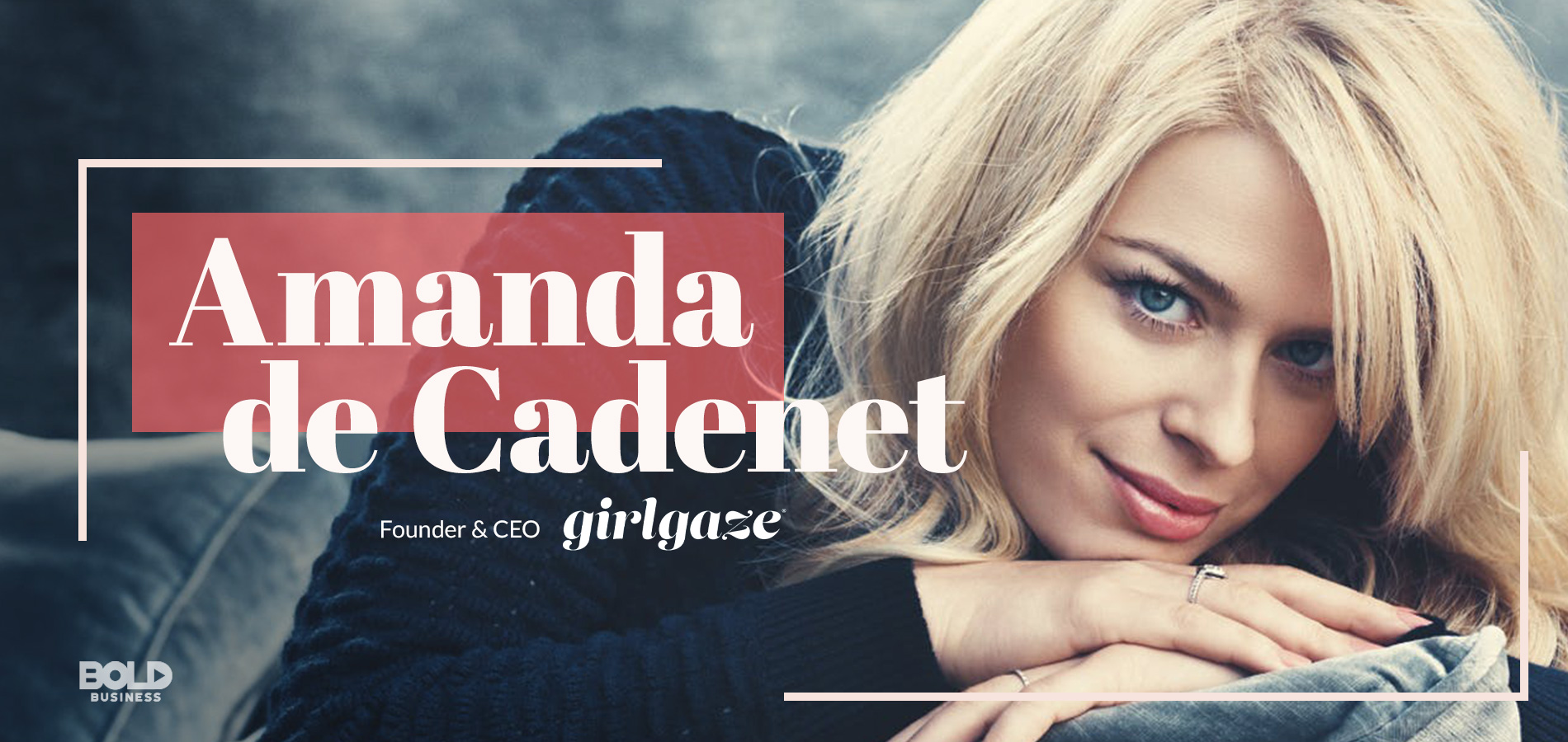 a photo of Amanda de Cadenet with her name and the company's name,