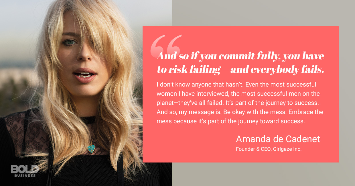 a photo quote of Amanda de Cadenet on being committed and risking failure in the journey toward success