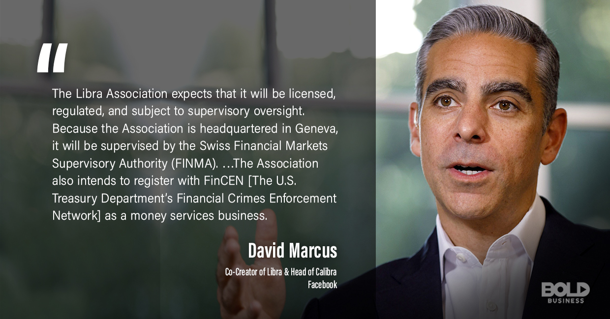 a photo quote of David Marcus in relation to the recently announced Facebook cryptocurrency, the Libra coin