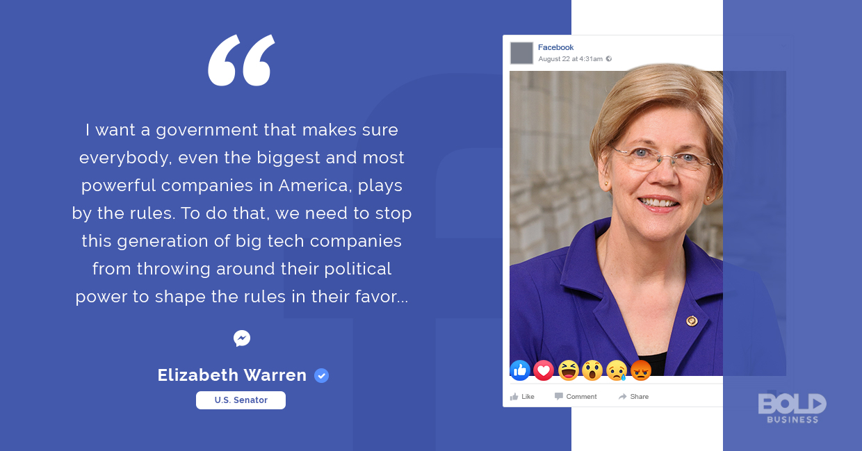 facebook acquisitions, elizabeth warren quoted