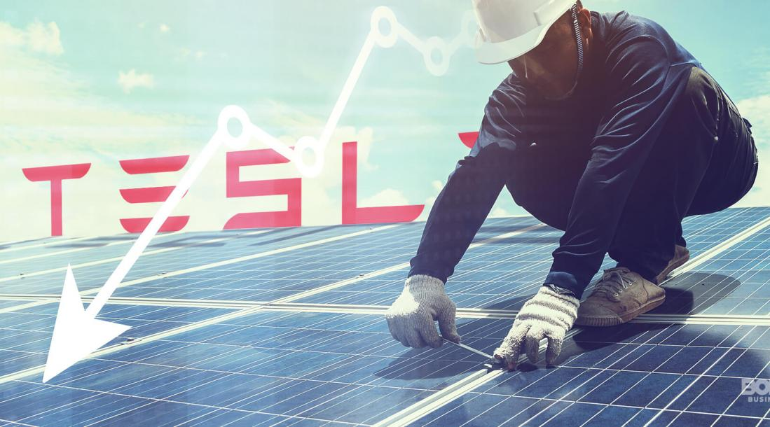 Tesla Solar worker working for roof panel installation