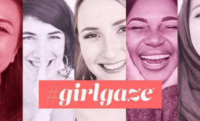 a photo of four close-up images of women's smiling faces in different hues of pink with the name of the company Girlgaze embossed in the center