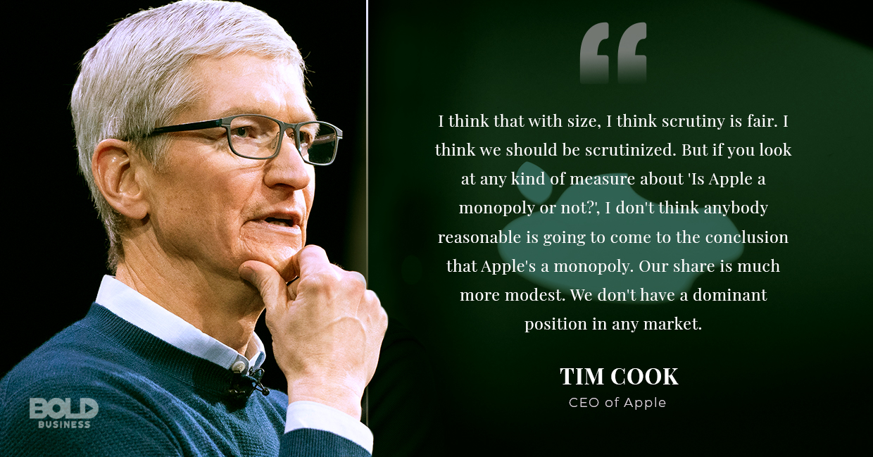 a photo quote of Tim Cook in relation to the recent news about Apple apps and the Apple App Store