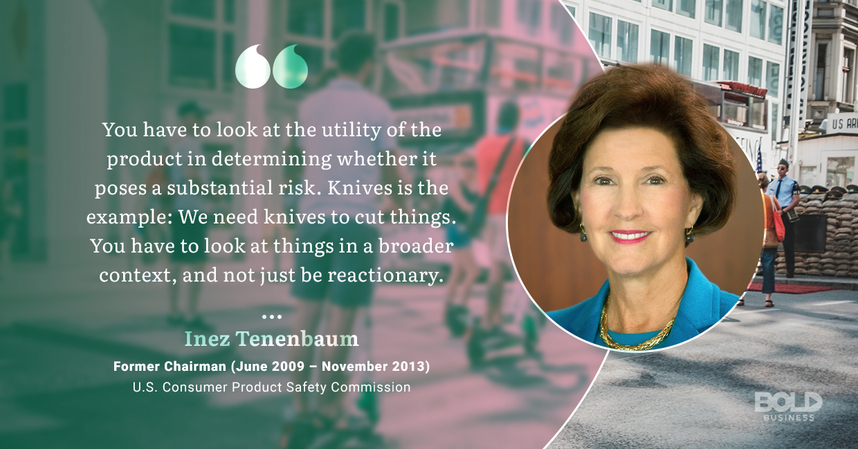 a photo quote of Inez Tenenbaum amid the fact that electric scooter safety woes continue to mount