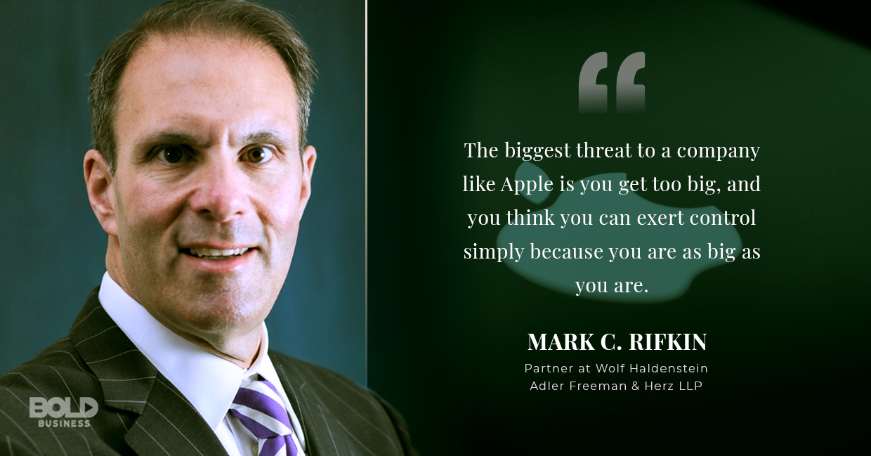 a photo quote of Mark Rifkin in relation to the recent news about Apple apps and the Apple App Store