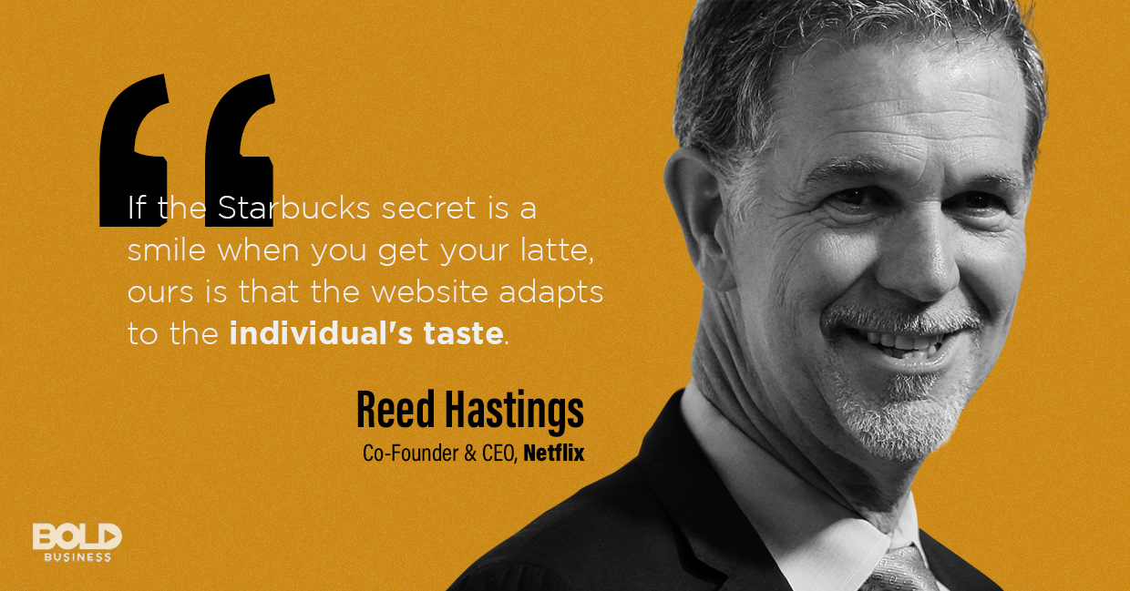 a photo quote of Reed Hastings in relation to the topic of Netflix innovation and the Netflix future strategy