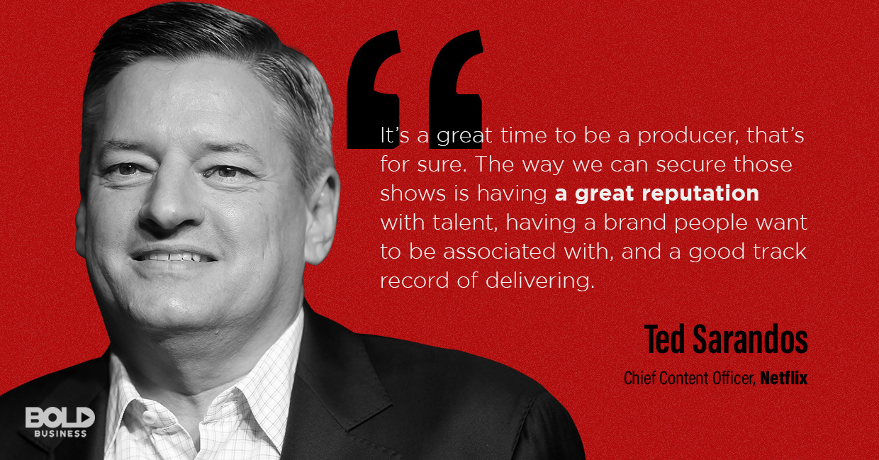 a photo quote of Ted Sarandos in relation to the topic of Netflix innovation and the Netflix future strategy
