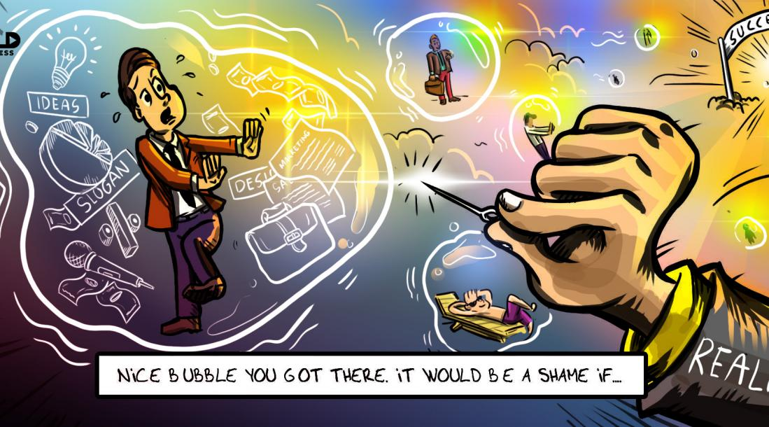 Cartoon of guy in an entrepreneurial bubble