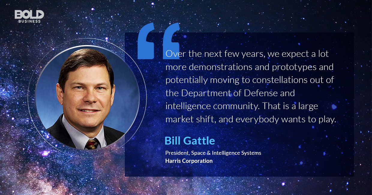 a photo quote of Bill Gattle in relation to the rapidly emerging Small Satellite Market