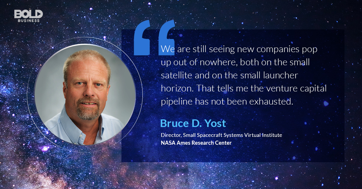 a photo quote of Bruce Yost in relation to the rapidly emerging Small Satellite Market