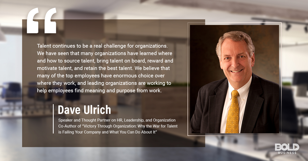 a photo quote of Dave Ulrich in relation to the subject of employee benefits