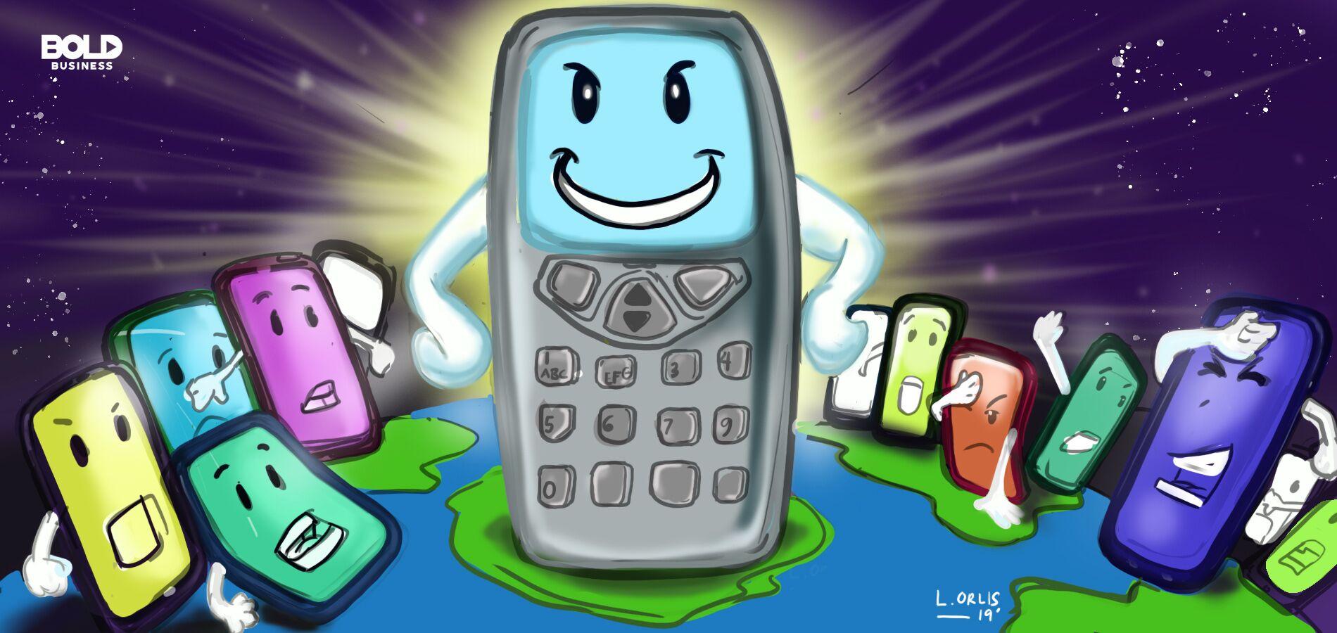 dumb phones cartoon
