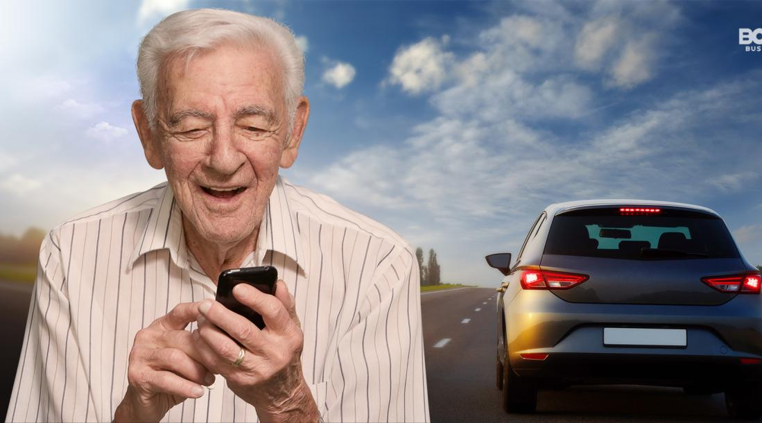 senior medical transportation, old man holding a phone