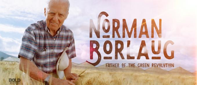 a photo of Norman Borlaug posing in a wheat field in connection to the phenomenon that is Norman Borlaug and the Green Revolution