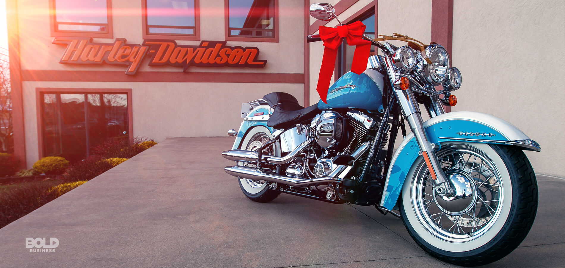 a photo of a Harley Davidson big bike parked in front of a Harley Davidson storefront amid the question of what a Harley Davidson rider might look like in the future