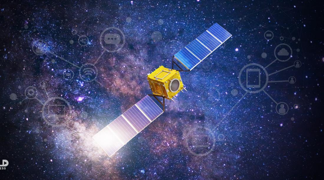 a photo of a small satellite floating among stars in outer space as the small satellite market continues to boom