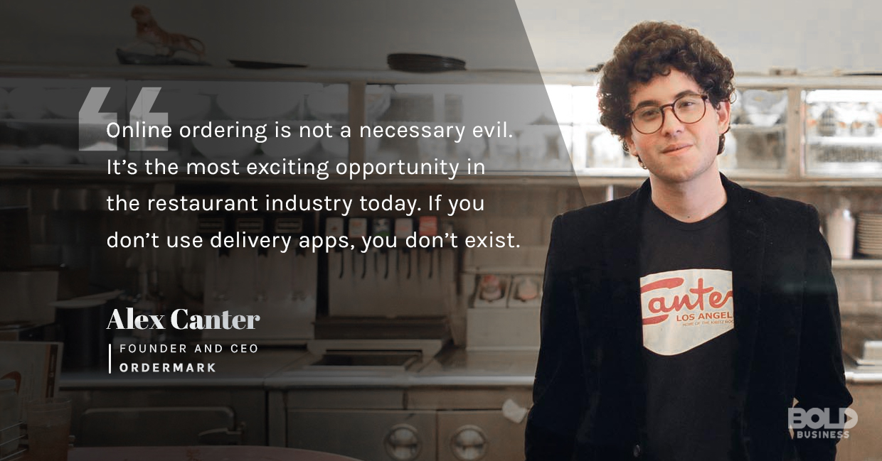 a photo quote of Alex Canter in relation the the rise of ghost kitchens or virtual restaurants