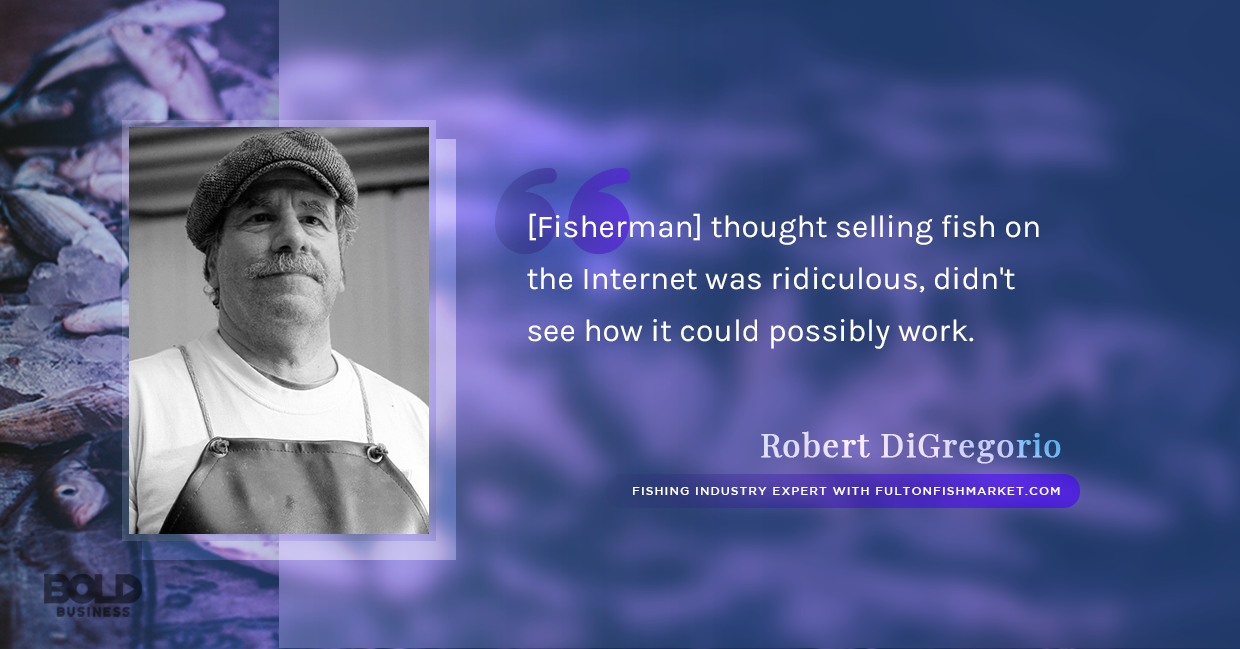 a photo quote of Robert DiGregorio in relation to the rise of companies offering fresh fish online ordering and delivery