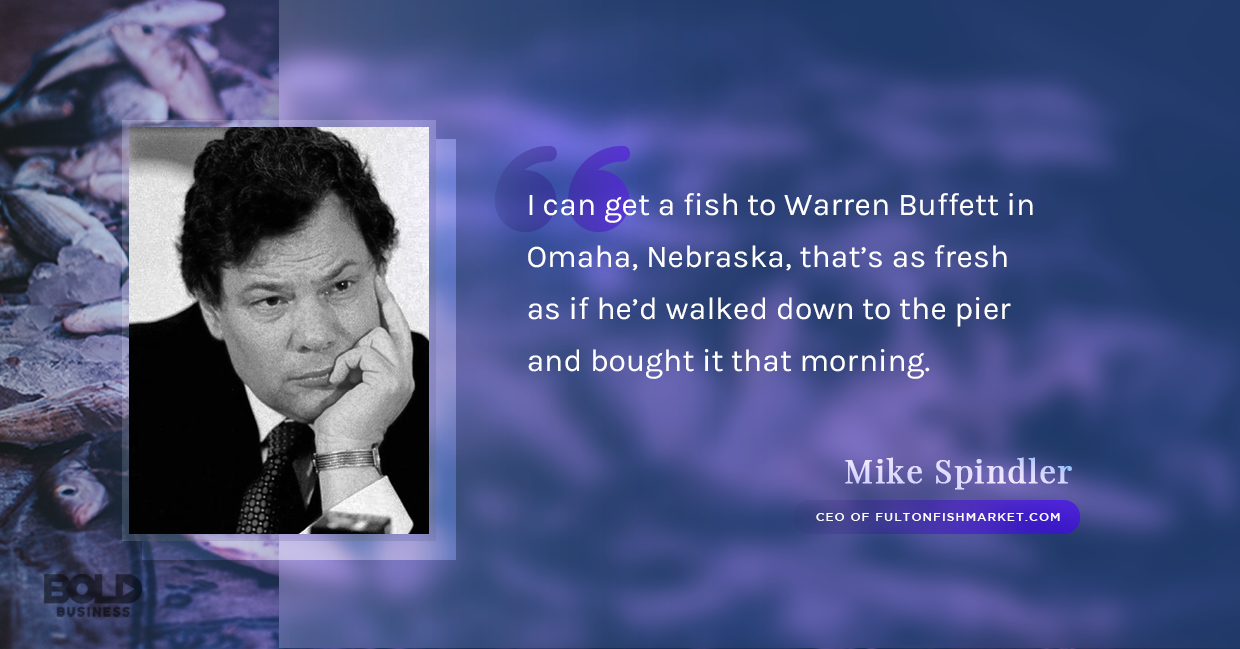 a photo quote of Mike Spindler in relation to the rise of companies offering fresh fish online ordering and delivery