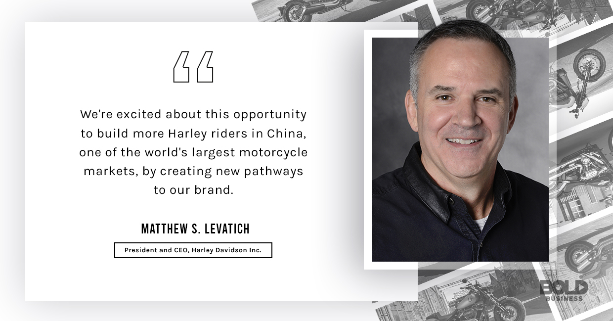 a photo quote of Matthew S. Levatich Trump relevant to the topic of the future of the Harley Davidson Rider & The Compnay's Quest to Stay Relevant in a Changing Market