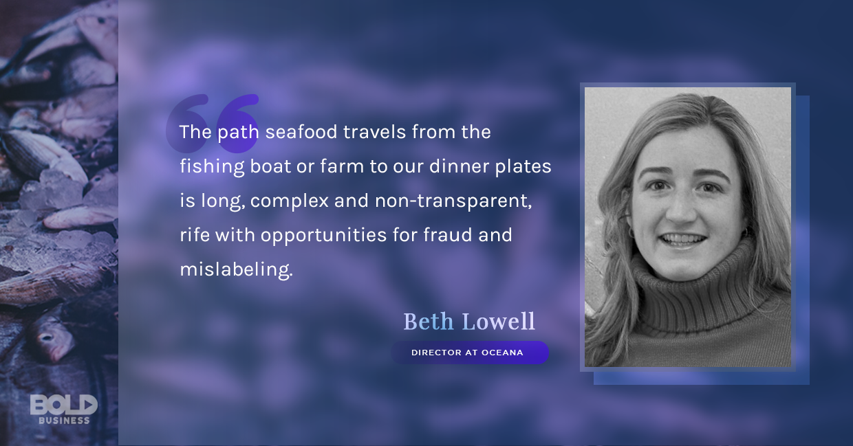 a photo quote of Beth Lowell in relation to the rise of companies offering fresh fish online ordering and delivery