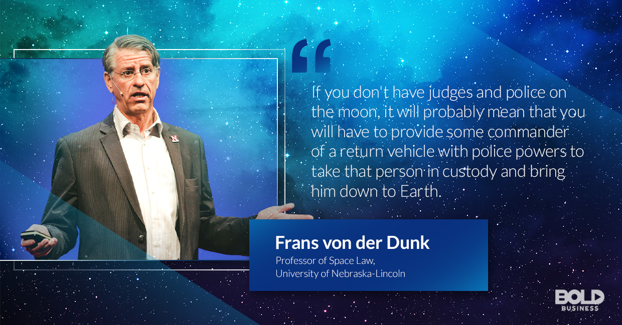 a photo quote of Frans von der Dunk in relation to the topic of space law cases
