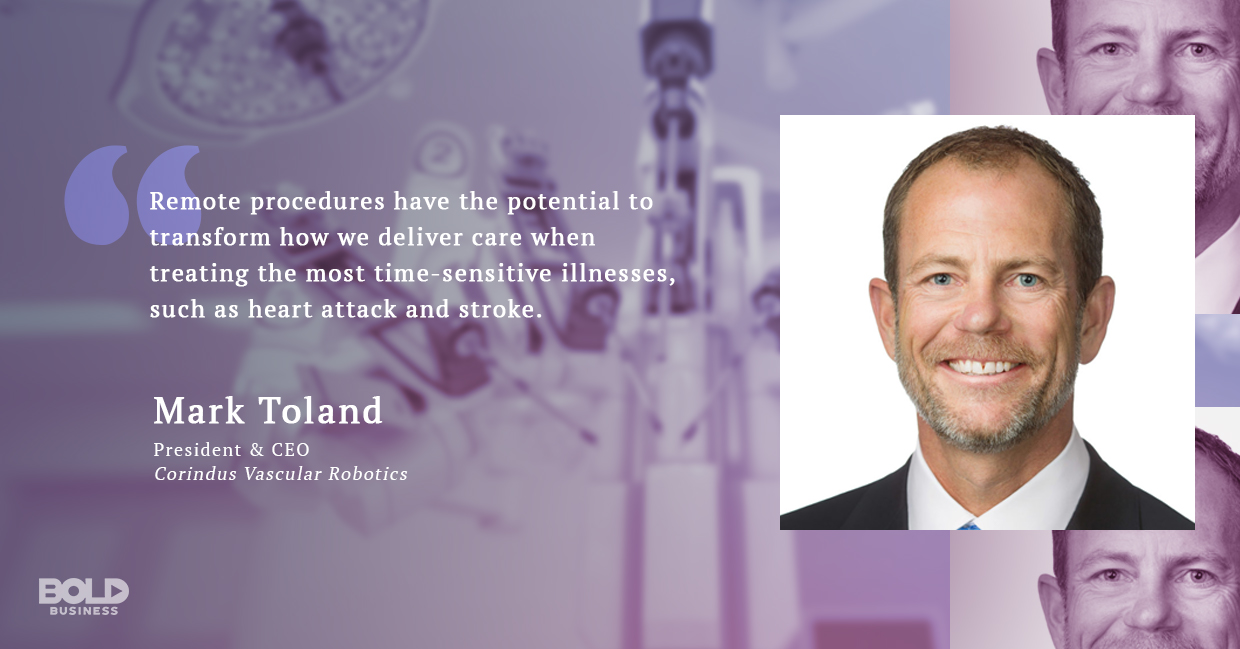 a photo quote of Mark Toland in relation to the topics of robotic heart surgery and robotic telemedicine