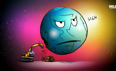 environmental sustainability, globe cartoon