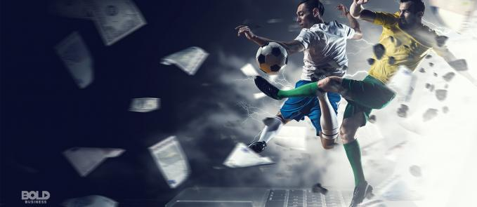 legal sports gambling soccer players on top of a keyboard