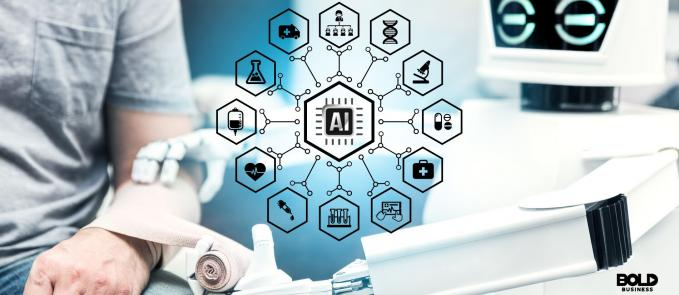 AI doctor treating a patient