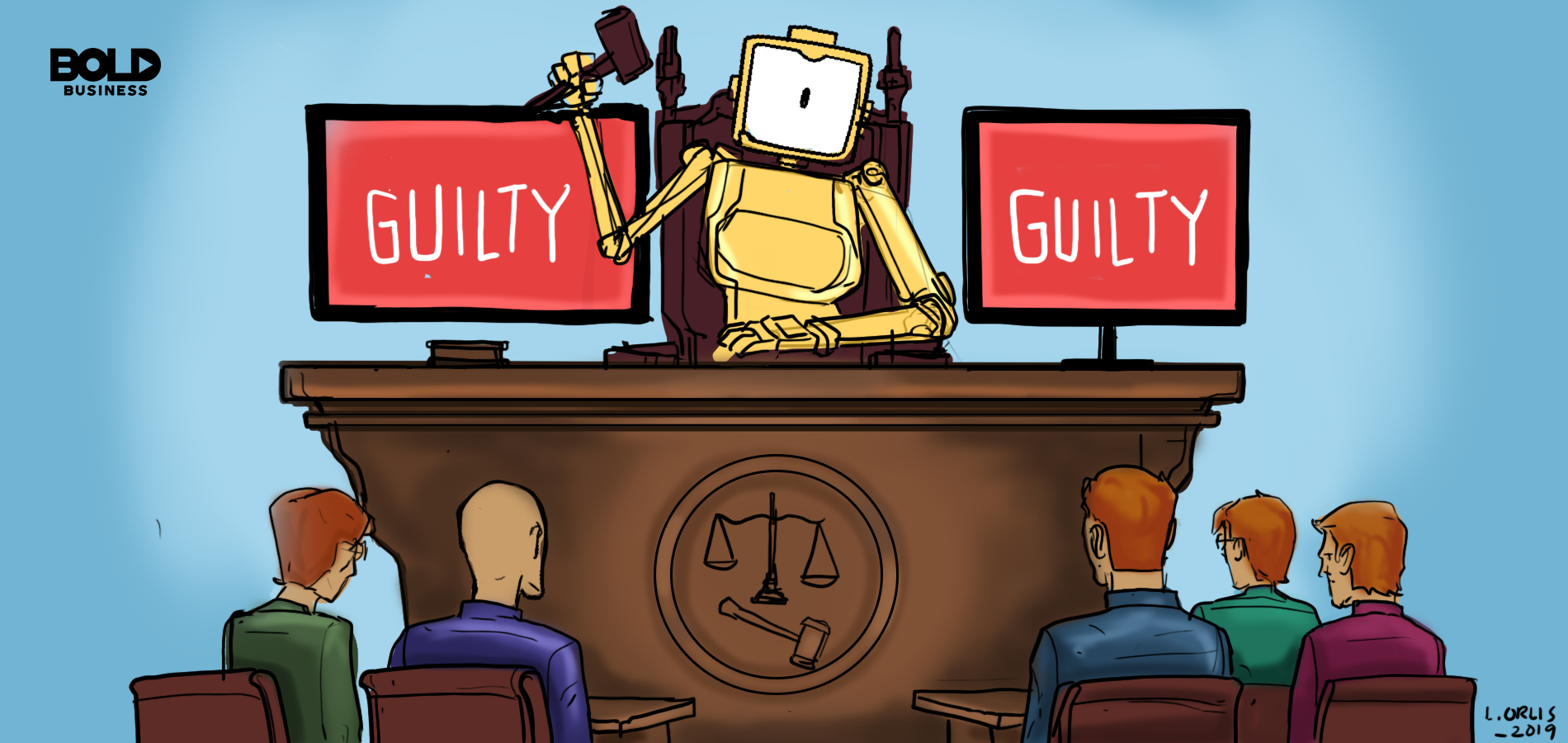 Cartoon of robot serving digital justice.
