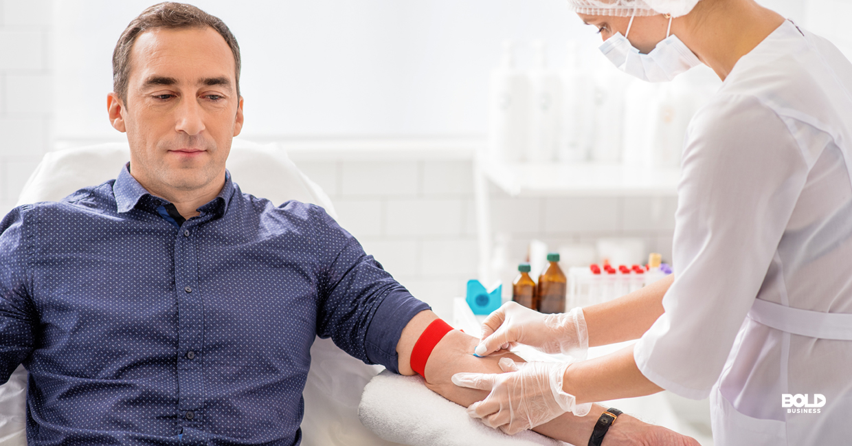 Man getting a blood test for cancer.