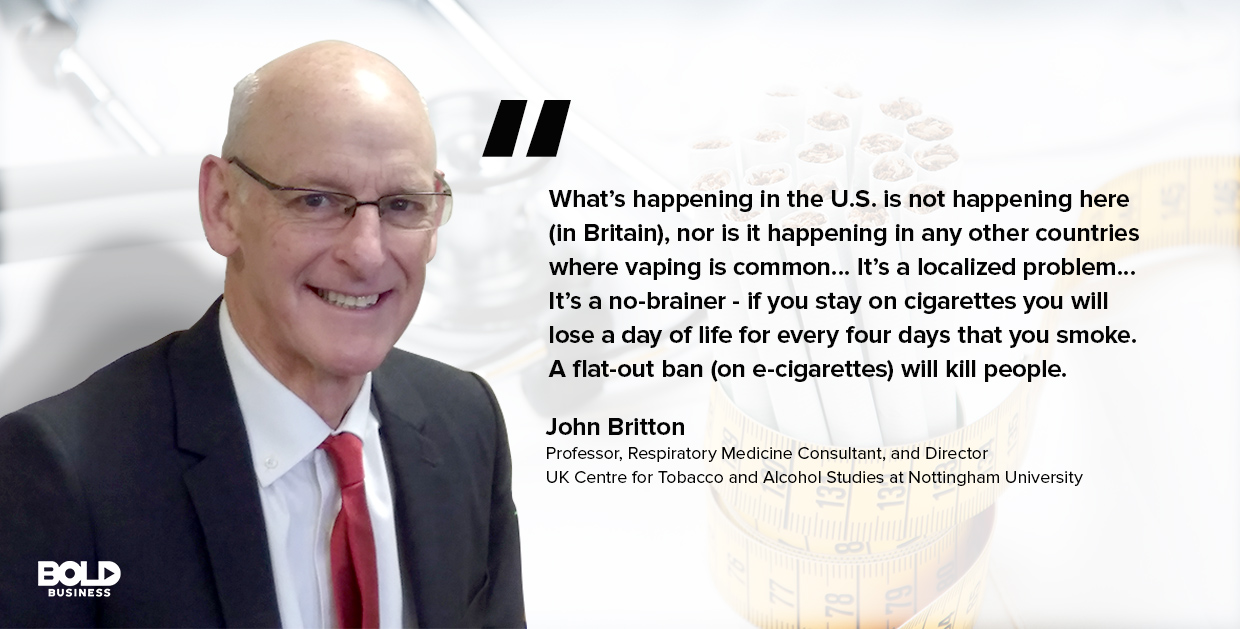 a photo quote of John Britton in relation to vaping and vape-related lung injuries