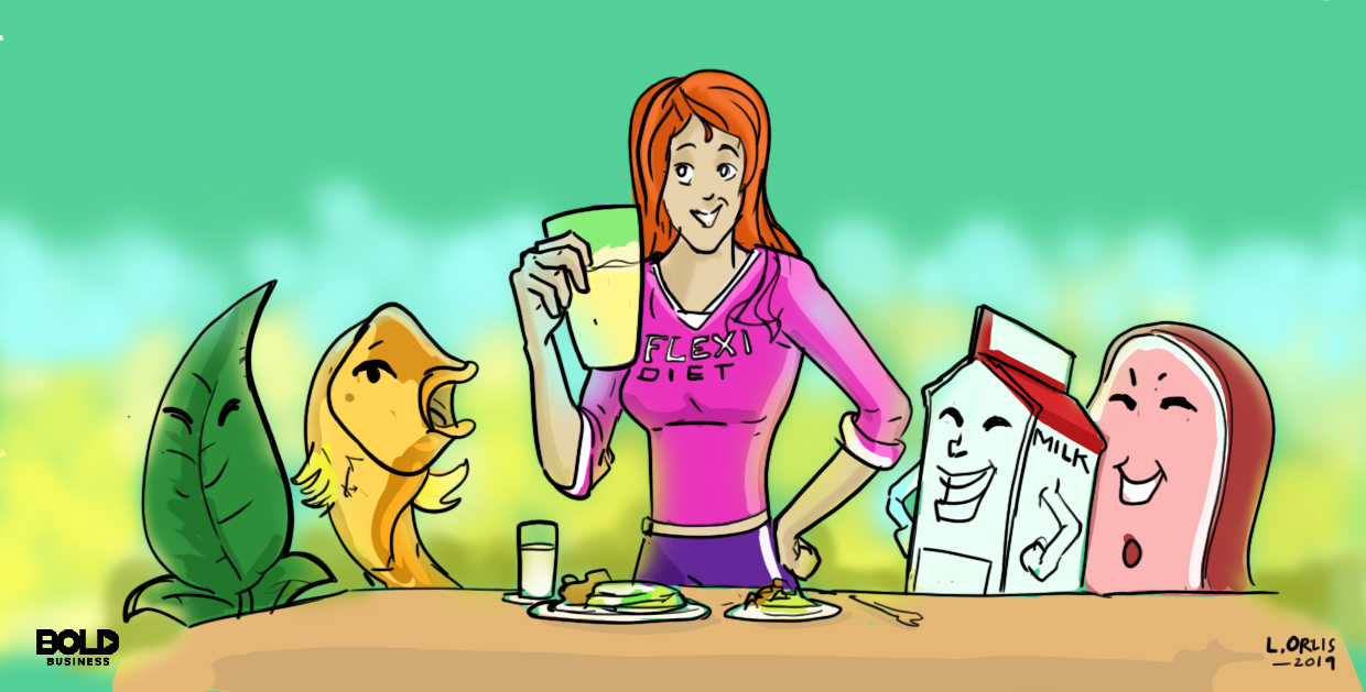 Flexitarian diet cartoon