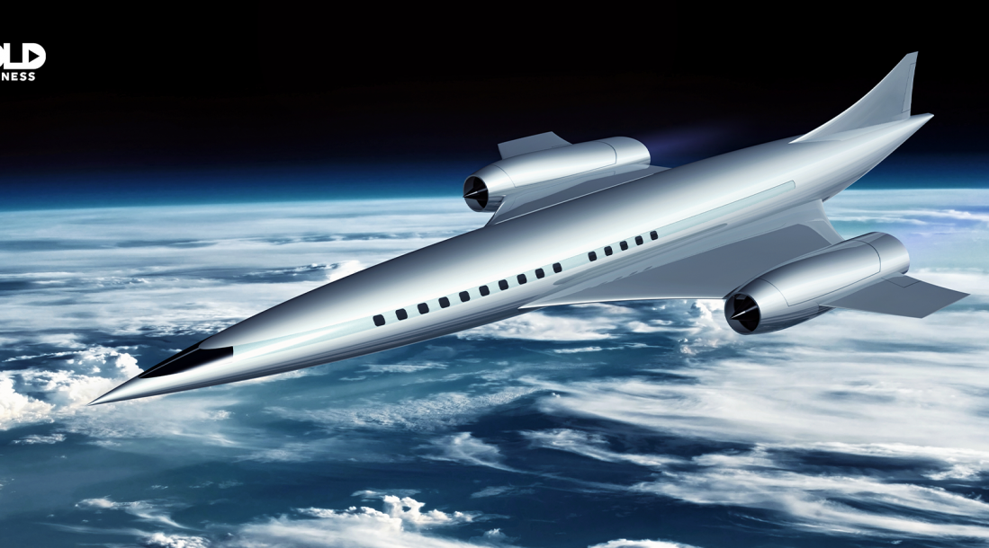 a photo of a hypersonic transport airplane soaring the just above the Earth's atmosphere in outer space