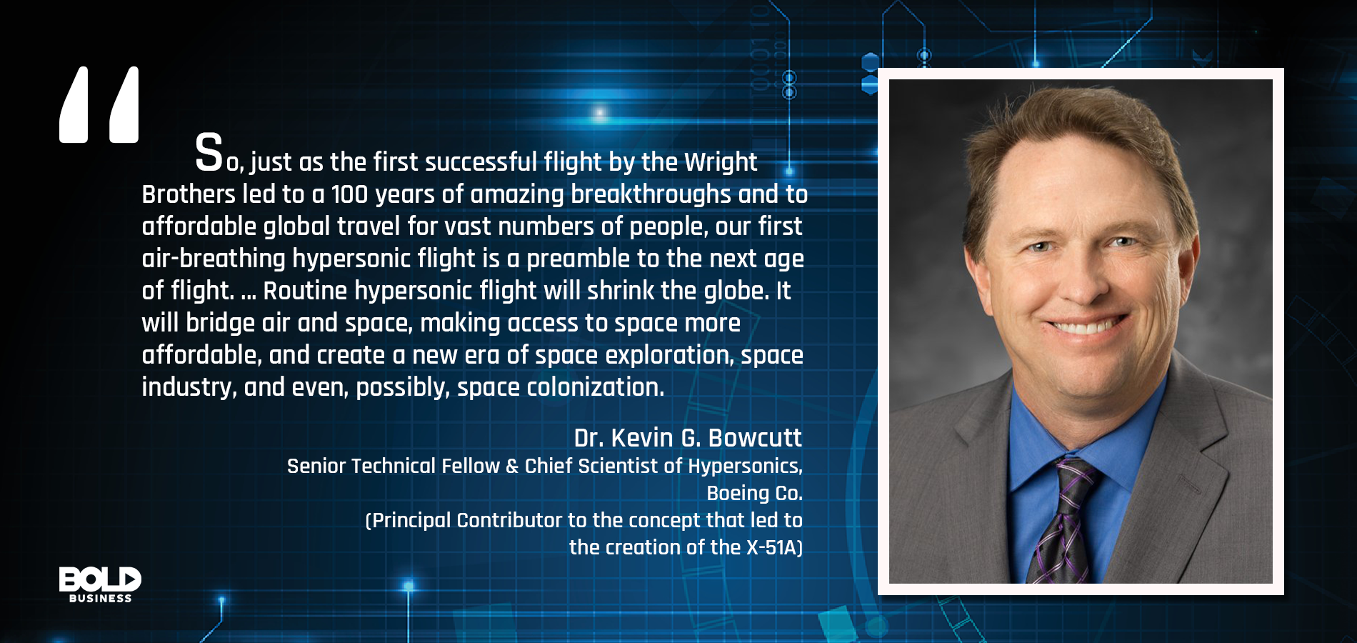 a photo quote of Kevin G. Bowcutt about hypersonic flights in relation to the main topic of hypersonic transport