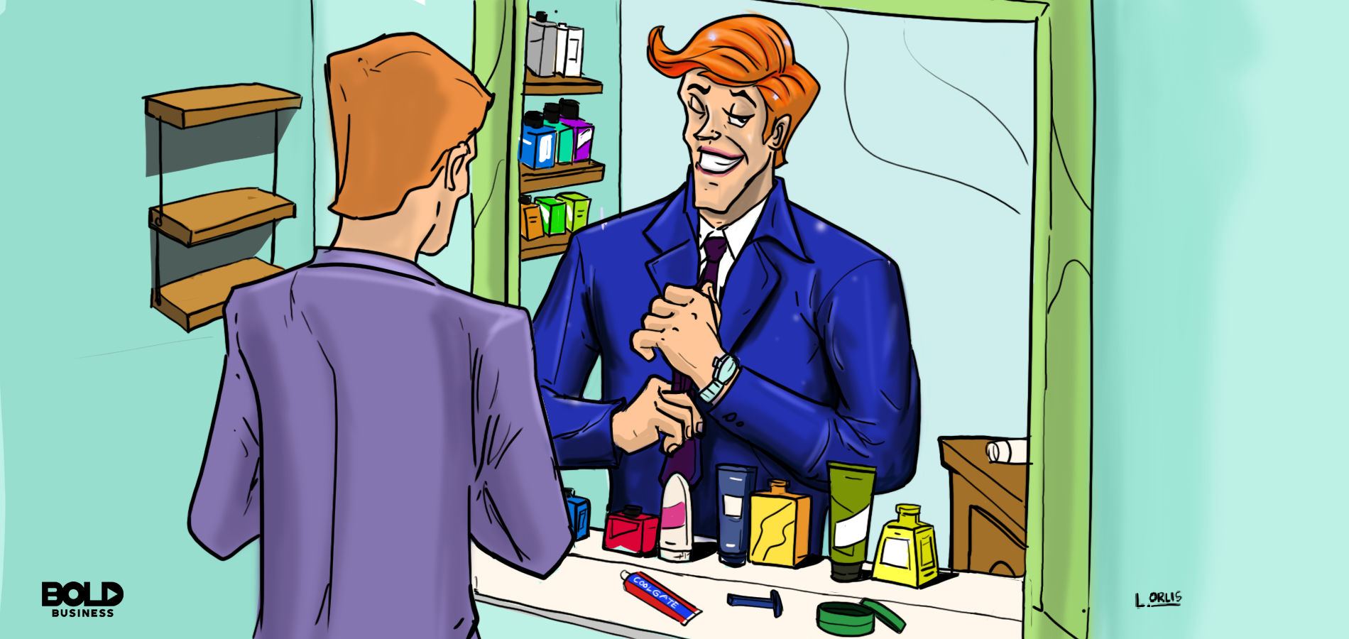 Cartoon of a man grooming in front of the mirror.